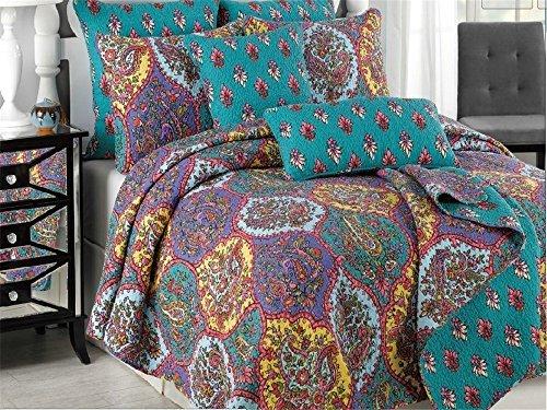 Tache Purple Turquoise Bohemian Floral Paisley Galore Damask Reversible 3 Piece Bedspread Quilt Set, ()