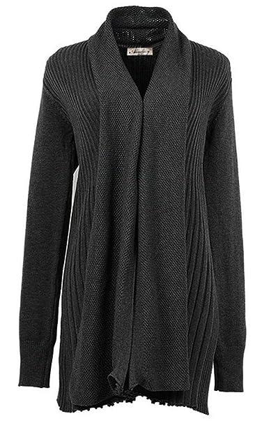 Mujer Chaqueta De Punto Primavera Otoño Manga Largo Abrigo Tejido Casual Cómodo Vintage Ropa Relaxed Pullover Outwear Abrigos (Color : Dunkelgrau, ...