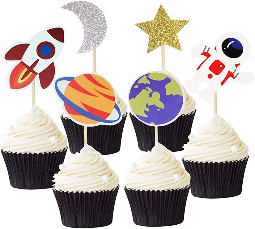 24PCS Outer Space Cupcake Toppers Planet Astronaut Earth Cupcake Picks Space Theme Kids Baby Shower Party Decorations Supliess