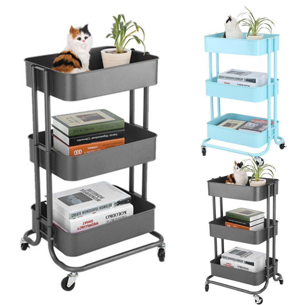Multifunctional Rolling Utility Cart-Adjustable 3 Tier Metal Storage Rack Trolley Cart Home Kitchen Mobile Rolling Trolley With Wheels (Black)