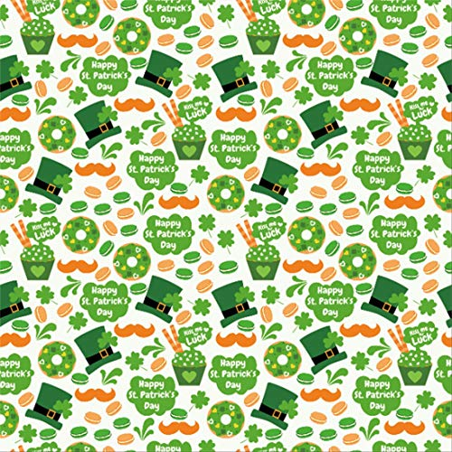 Yeele 9x9ft Vinyl Photography Background St Patricks Day Spring Clover Decoration Green Magician Hat Biscuits Photo Backdrops Happy St.Patrick's Day Pictures Photoshoot Wallpaper Studio Props