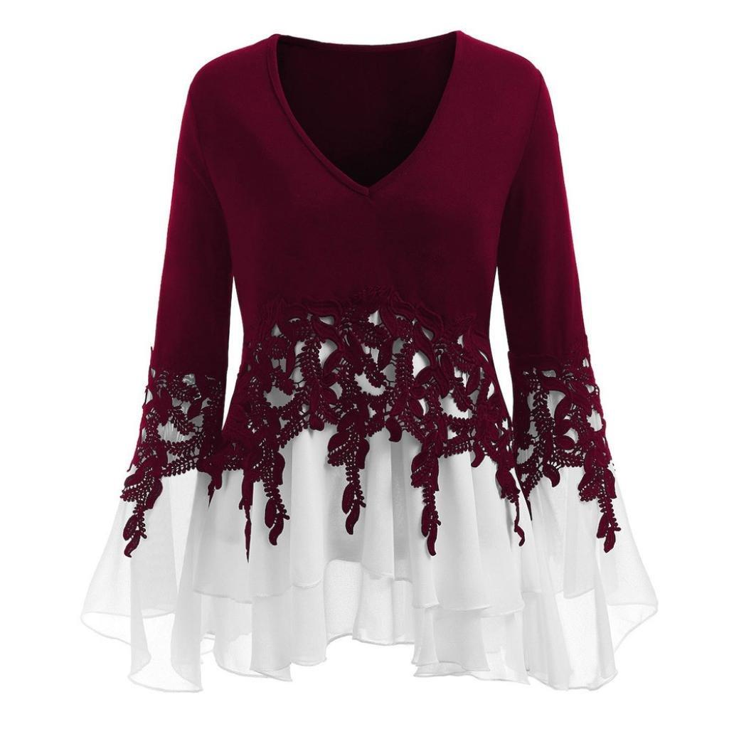 Chiffon Blouse,Toimoth Fashion Womens Casual Applique Flowy Chiffon Long Sleeve Blouse Tops(Wine,XL)