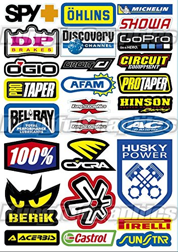 Kungfu Graphics SPY+ AFAM Sponsor Logo Racing Sticker Sheet Universal (7.2 x 10.2 inch)