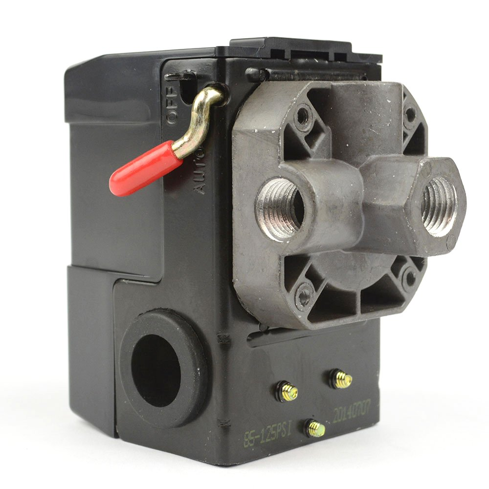 Interstate Pneumatics LF10-4H Pressure Switch - 1/4 inch FPT Four Port Bend Lever Switch 20 Amps 85-125 psi Fits Dewalt Hitachi Emglo Makita Porter Cable Ridgid Rolair Air Compressors IP-LF10-4H