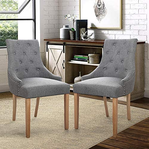 JAXSUNNY 2 PCs Modern Button Fabric Dining Side Chair Padded Leisure Tufted Chair