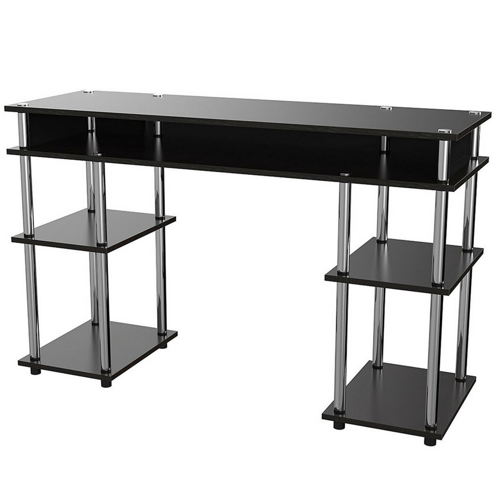 Marvelous Long Narrow Desk Table With 5 Shelves Black Wooden With Stainless Steel Poles Open Small Modern Laptop Student Kids Dorm Home Office Desk With Storage Interior Design Ideas Skatsoteloinfo
