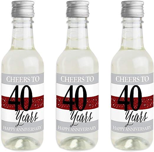 We Still Do – 40 aniversario de boda – Mini vinos y champán etiqueta pegatinas – aniversario fiesta regalo – Set de 16: Amazon.es: Hogar