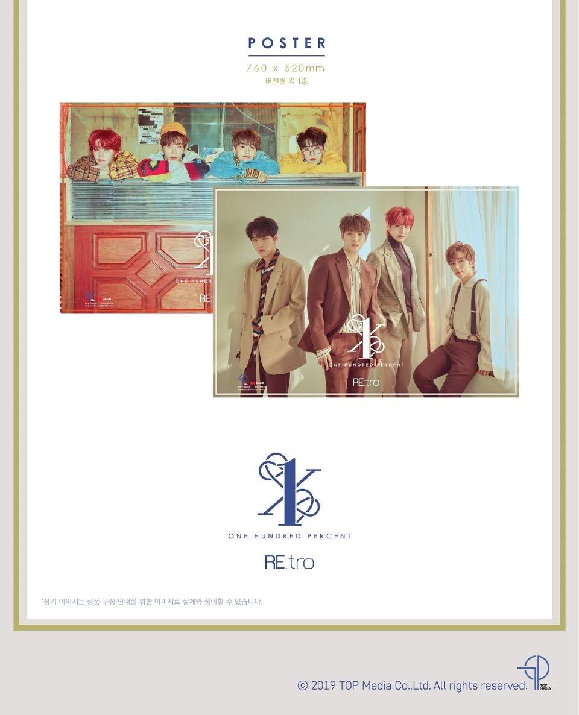 Hip ver. 1CD+72p Photobook+1Photocard+Folded Poster RE:TRO TOP Media 100 Percent 6th Mini Album