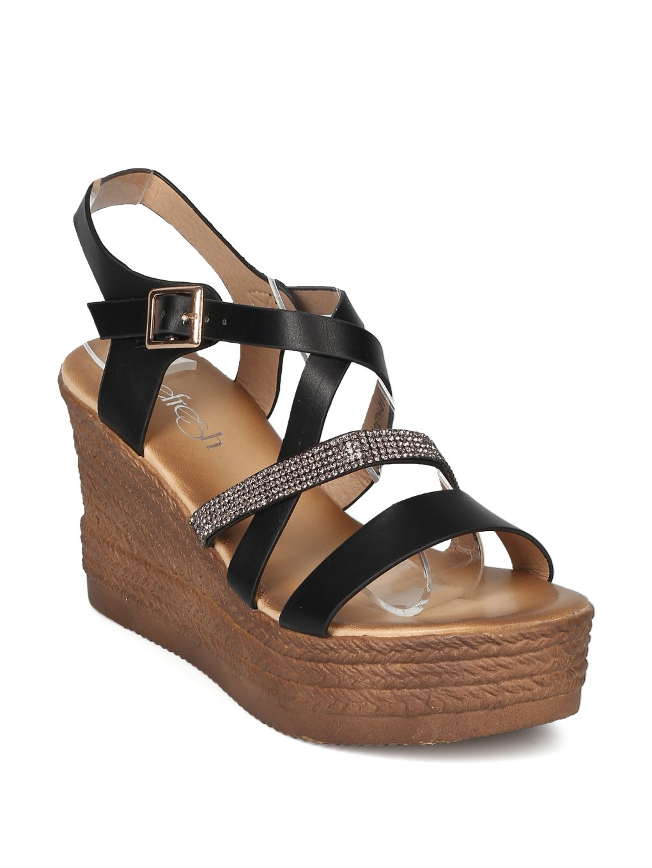 Alrisco Women Leatherette Rhinestone Strappy Platform Wedge Sandal HI29 B07DNKSKKB 8.5 B(M) US|Black Mix Media