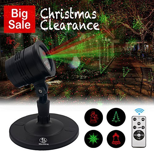 Christmas Laser Lights Outdoor Projector - Blinbling Laser Red & Green Lights Combine with Wireless Remote Control, for Christmas Holiday and Garden Show Decoration
