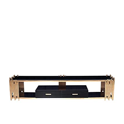 Amazon Com Rmg Fine Imports Mauris 80 Tv Stand In Rose Gold