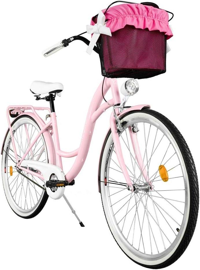 Milord 26 Pouces 3 Vitesses Rose V/élo de Confort avec Panier Bicyclette Femme City Bike V/élo de Ville