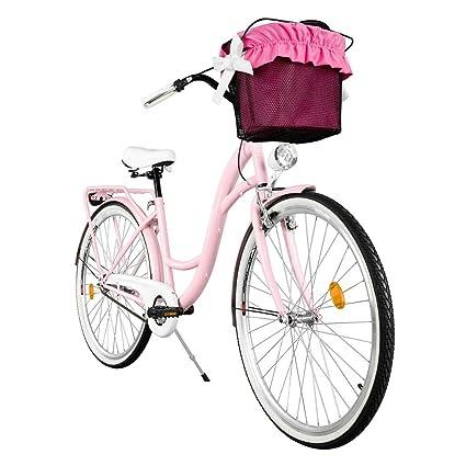 Milord 28 Zoll 1-Gang Wei/ß Aquablau Komfort Fahrrad mit Korb Hollandrad Damenfahrrad Citybike Cityrad Retro Vintage
