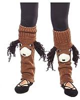 Fun Handknit Wool Winter Animal Face Leg Warmers