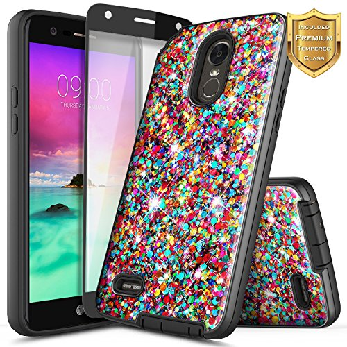 LG Stylo 3 Plus Case, LG Stylo 3 Case w/ [Full Cover Tempered Glass Screen Protector], NageBee Glitter Sparkle Shiny Bling Slim Protective Hybrid Fashion Cute Case For LG TP450 / LS777 - Rainbow