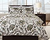 Hedaya Home Fashions 758 2ST Charlotte Reversible Quilt Set, Chic Floral Medallion Pattern, 3-Piece Set with Quilt and Pillow Shams - Full/Queen