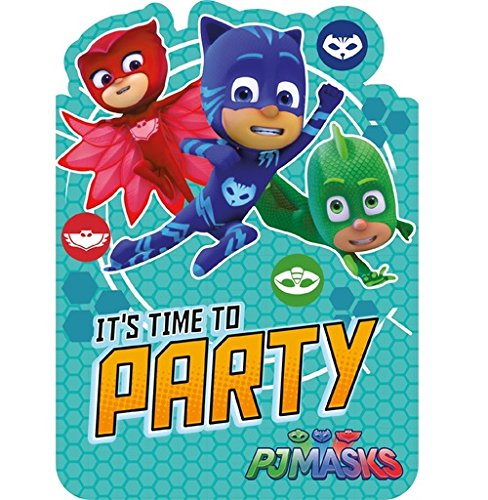 Party Invite (Pj Masks Pack Of 6 Party Invites With Envelopes)