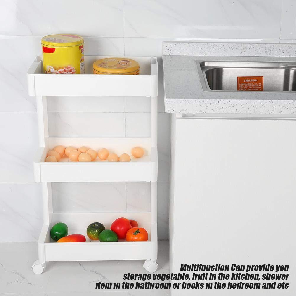Schubladen 3 Schichten tragbare multifunktionale herausnehmbare Aufbewahrungsbox Regal mit R/ädern K/üche Badezimmer