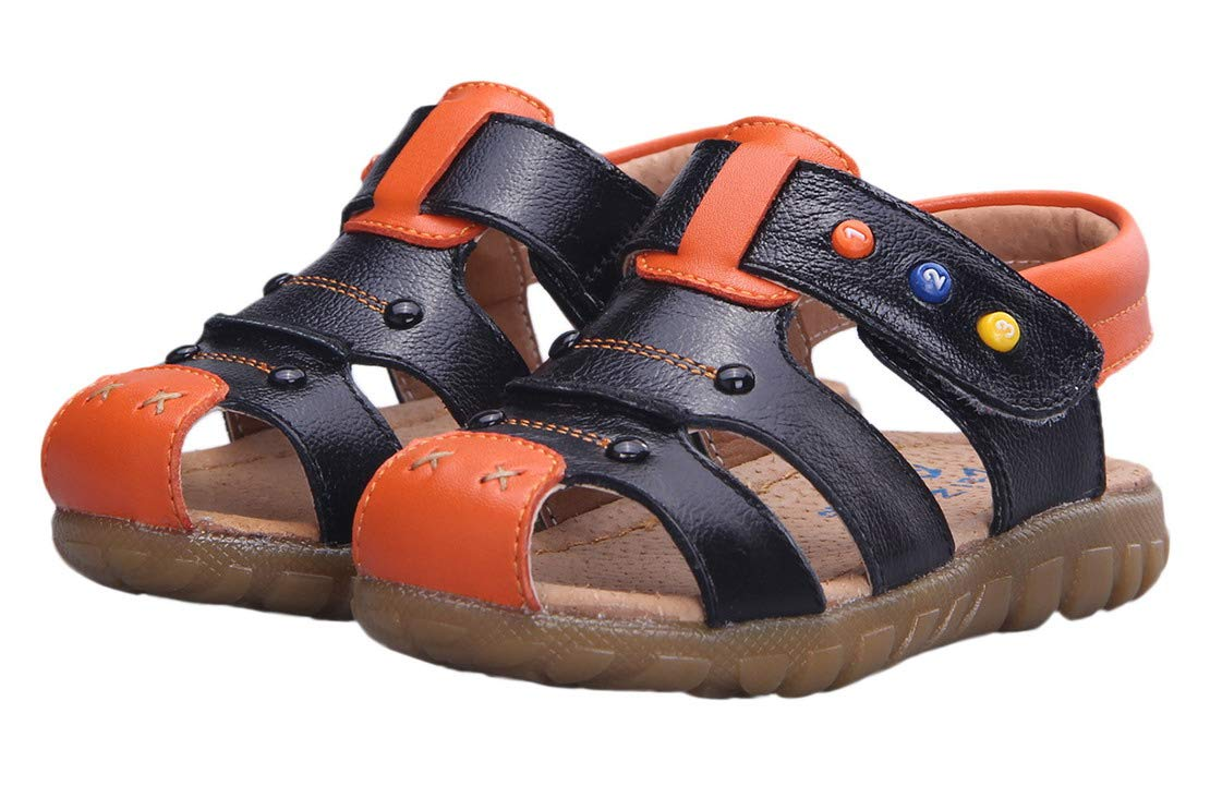 Happy Cherry Baby Boys Genuine Leather Soft Bottom Sandals First Walkers Shoes Size 21 Brown with Orange