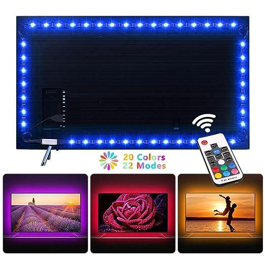Ruban Led Nexvin 2m 60 Led Bande Lumineuse Flexible Multicolore Avec Télécommande Sans Fil De 17 Touches Pour Décoration De Chambre Tv Pc Miroir
