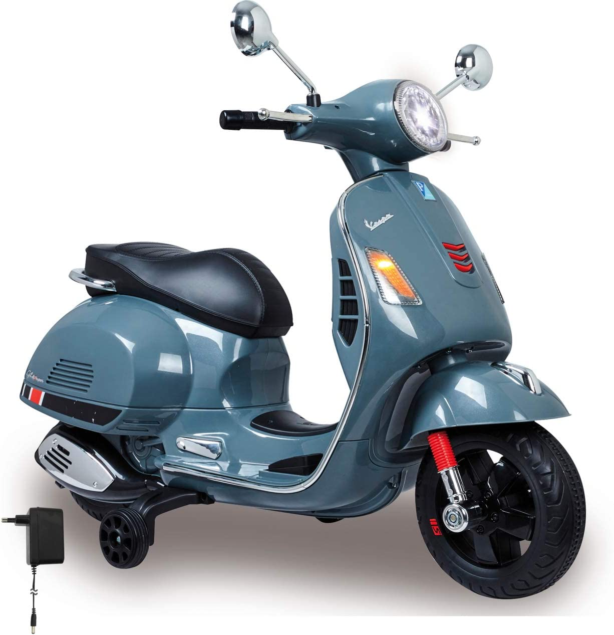 Jamara 460441-Ride-on Vespa GTS 12V – Asiente en Piel sintético, Ruedas de Goma Ultra-Grip, Claxon, Faro Led, Batería Potente, SD, AUX, USB, Color Gris (460441)