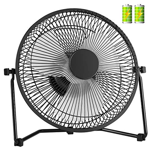 COMLIFE Biggest 11 Inch Rechargeable Metal Desk Fan, Battery