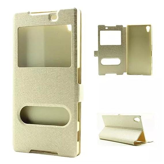 low priced 22e31 35a4b Sony Xperia Z5 Premium / Z5 Plus / E6853 Case,Gift_Source [Gold] [Slim Fit]  Silk Flip Window View PU Leather Case Flip Cover Folio Case for Sony ...