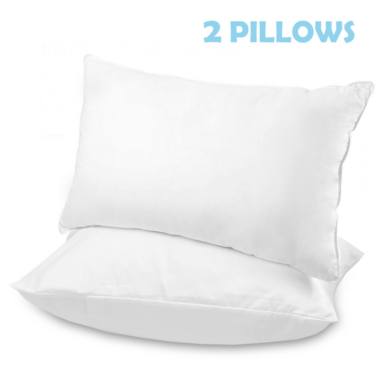 Bed Pillows for Sleeping, Dust-Mite Resistant, Hypoallergenic Microfiber Fill, 100% Cotton Cover, Comfortable Pillows for Sleeping (Standard 20'' x 26'', Set of 2, White)