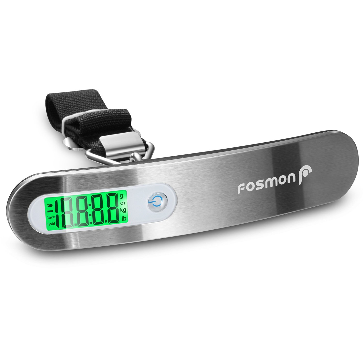 Digital Luggage Scale (2 Pack), Fosmon [Stainless Steel │Backlight │ LCD Display] Digital Hanging Luggage Weight Scale, Up to 110LB (50 kg) with Tare Function - Silver 51024HOM