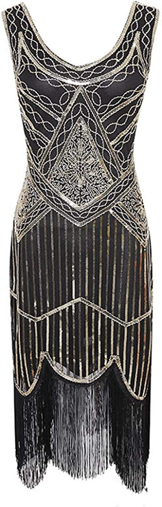 YBWZH Women Vintage Dress Lady1920s Elegant Art Deco Bead Fringe Cocktail Prom Party Dress Costume Fringe Sequin Lace Flapper Dress