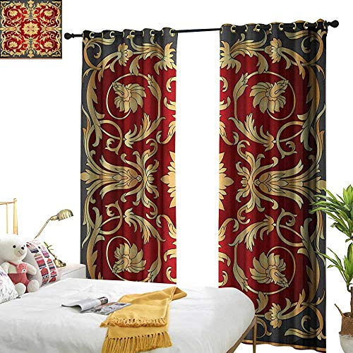 longbuyer Turkish Pattern Decorative Curtains for Living Room Ottoman Spiral Foliage Pattern Frame Filigree Style Royal and Retro W72 x L108,Suitable for Bedroom Living Room Study, etc. ()