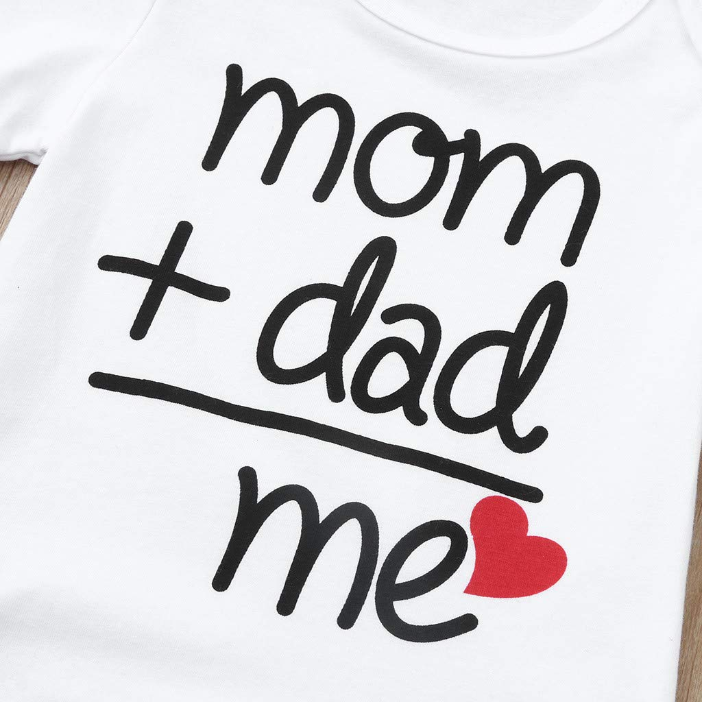Cuekondy Newborn Toddler Baby Girls Boys Cute mom+dad=me Letter Printed Romper Bodysuit Tops Summer Clothes 3-24 Months