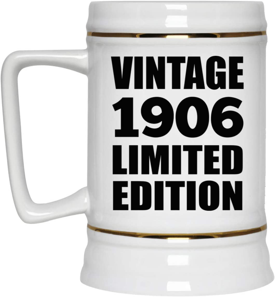 114th Birthday Vintage 1906 Limited Edition - 22oz Beer Stein Ceramic Bar Mug Tankard High Quality - Gift for Friend Kid Daughter Son Grand-Dad Mom Jarra de Cerveza, de Cerámica - Regalo para Cumpl