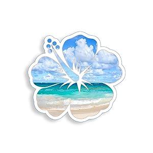 Hibiscus Beach Flower Sticker Vinyl Ocean Design Decal for Cup Cooler Car Window Bumper