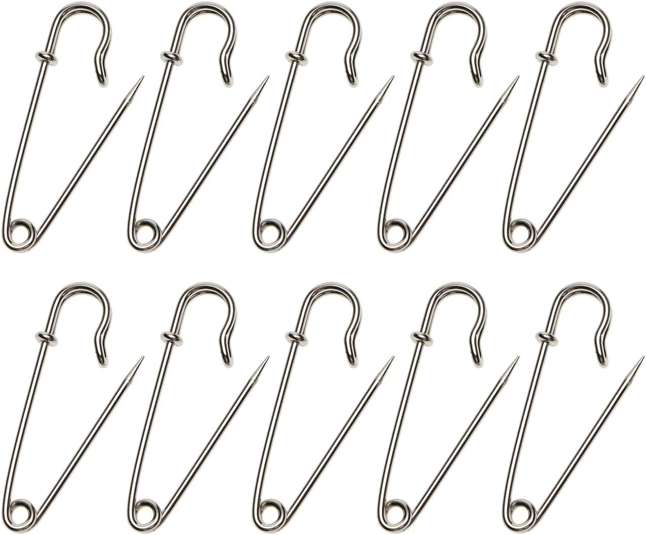 Shapenty 1.78Inch/45mm Steel Wire Spring Lock Safety Pins Fasteners for Skirt Blankets Clothing Fabric Craft Quilting Knitting, Upholstery and Tablecloth Bed Sheets Secure, 10PCS (Silver, 45mm)