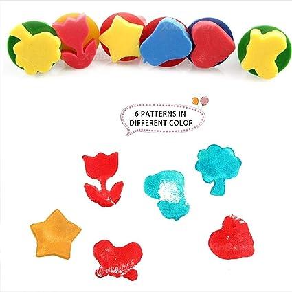 Anna-neek Sello de esponja de pintura para niños con brochas de ...