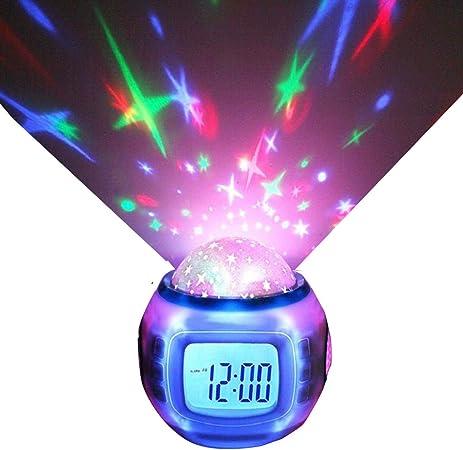 SIS Projection d'étoiles Réveil LED Calendrier de Changement de Couleur avec thermomètre