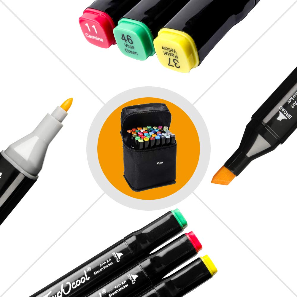 Ciaoed Artist Alcohol Based Marker Pens, 40 Colors Dual Tip Artist Markers Pens with Fine Tip and Chisel Tip for Coloring Books, Art, Sketching, Calligraphy, Manga, Bullet Journal