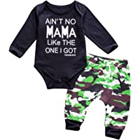 Emmababy Baby Boys' Clothes Black Romper And Camouflage Pants Set
