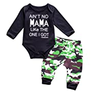 Newborn Baby Boys Winter Clothes Black Romper Bodysuit and Camouflage Pants Outfit Set (0-6Months, Camo Romper Set)