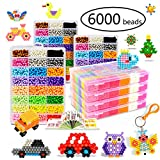 KACAGA Water Fuse Beads Kit 24 Colors 6000 Beads, Refill kit Compatible Beados Magic Water Sticky Beads Art Crafts Toys for Kids Beginners (6000+ Beads Complete Set)
