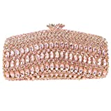 Bonjanvye Baguette Kiss Lock Purse Crystal Luxury Evening Clutch Bags