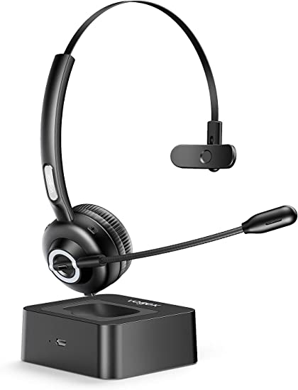 Amazon Com Trucker Bluetooth Headset With Microphone Vogek Noise Cancelling Mic Wireless Headphones With Charging Base Clear Hands Free Comfort Fit Headset For Home Office Online Class Pc Call Center Skype Home Audio Theater