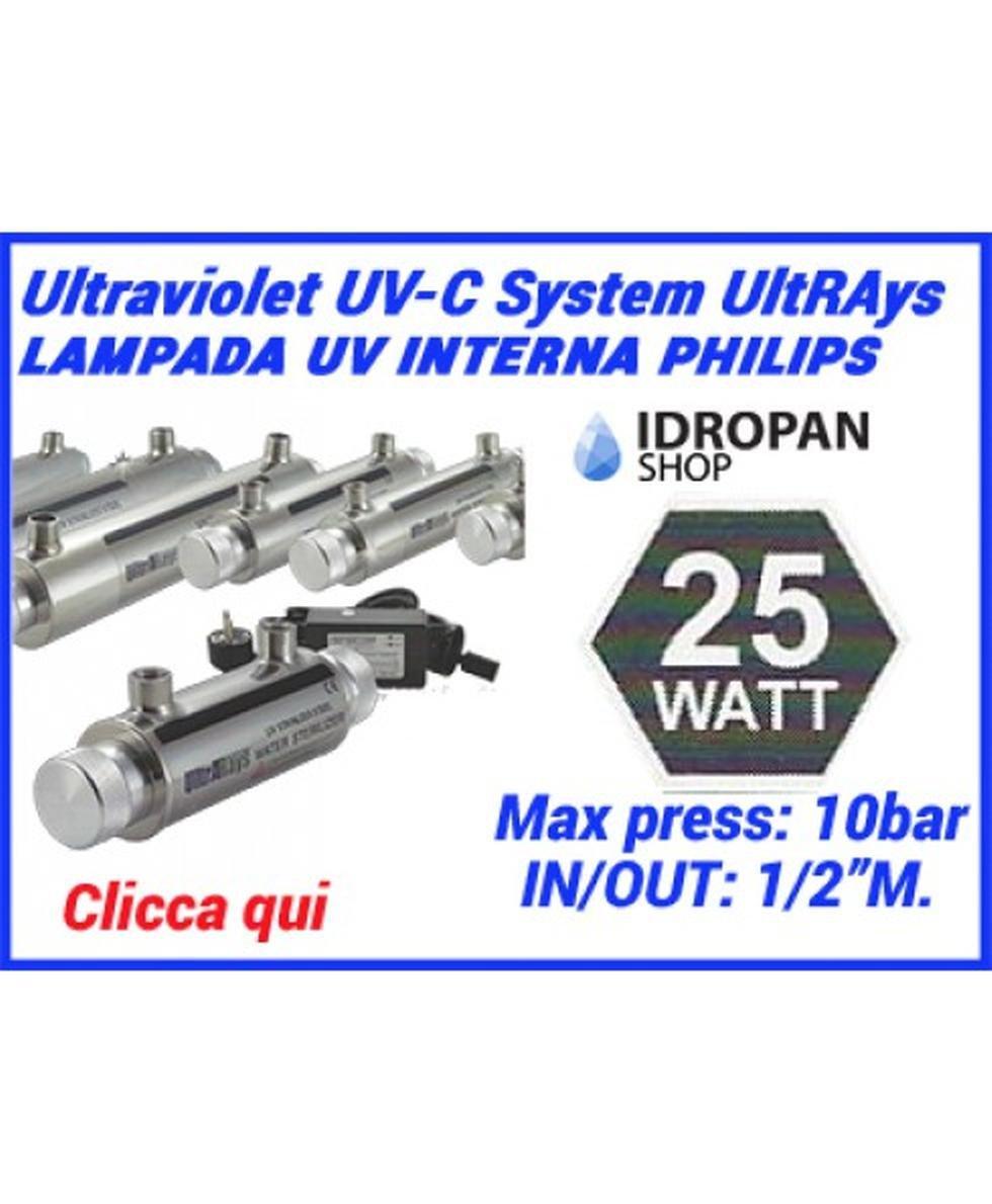 Sterilizzatore uv per acqua, Lampada UV, sistemi UV UltRAays 25 Watt. con lampada interna Philips sistema completo Ultrarays