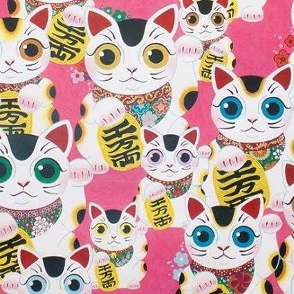 Tela rosa fuerte gato de la suerte Alexander Henry Fuku Kitty Indochine