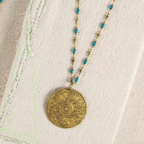 Natural Life Turquoise Metal Medallion Necklace