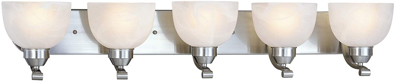 Minka Lavery Wall Light Fixtures 5425-84 Paradox Glass Bath Vanity Lighting, 5 Light, 500 Watts, Nickel