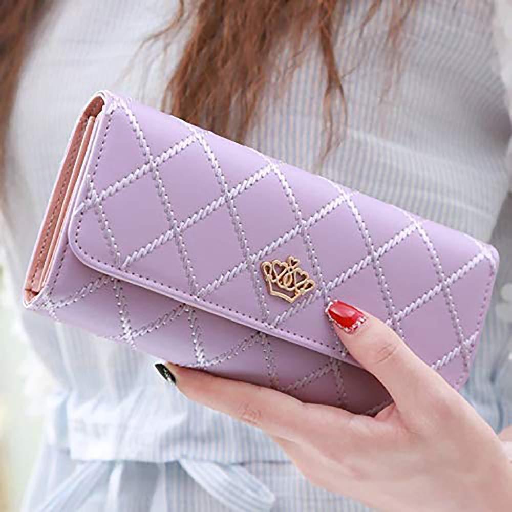 purple DWSFADA Embroidered Lingge ladies long wallet crown multi-card hand holding wallet metal crown long wallet