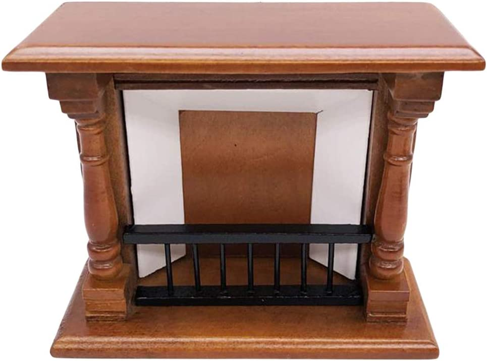 FAMKIT Dollhouse Decoration Accessories,1:12 Dollhouse Miniature Furniture Room Wooden Vintage White Fireplace (Brown)