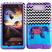 Cellphone Trendz High Impact Hybrid Rocker Case for Motorola Droid Maxx XT1080M / Droid Ultra XT1080 - Blue Chevron Tribal Elephant Design Hard Shell (Purple)